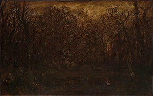 The Forest in Winter at Sunset by Theodore Rousseau