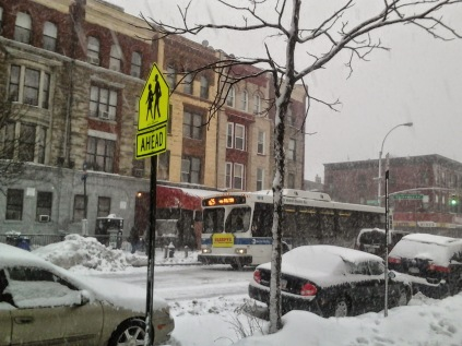 B25 Bus braving Linus snow