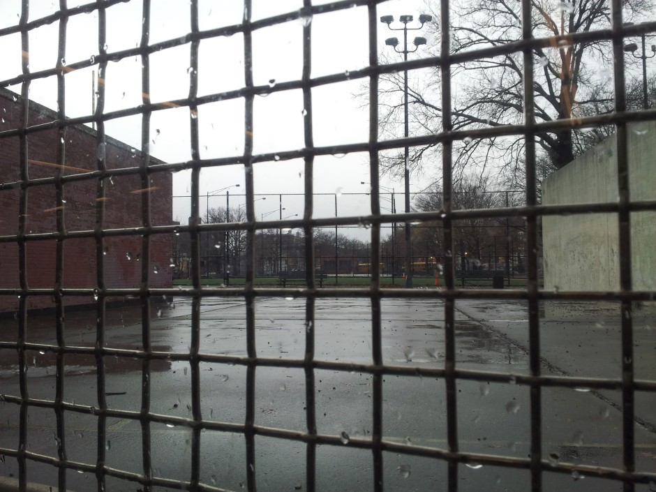 Broadway Junction View through the wire screen