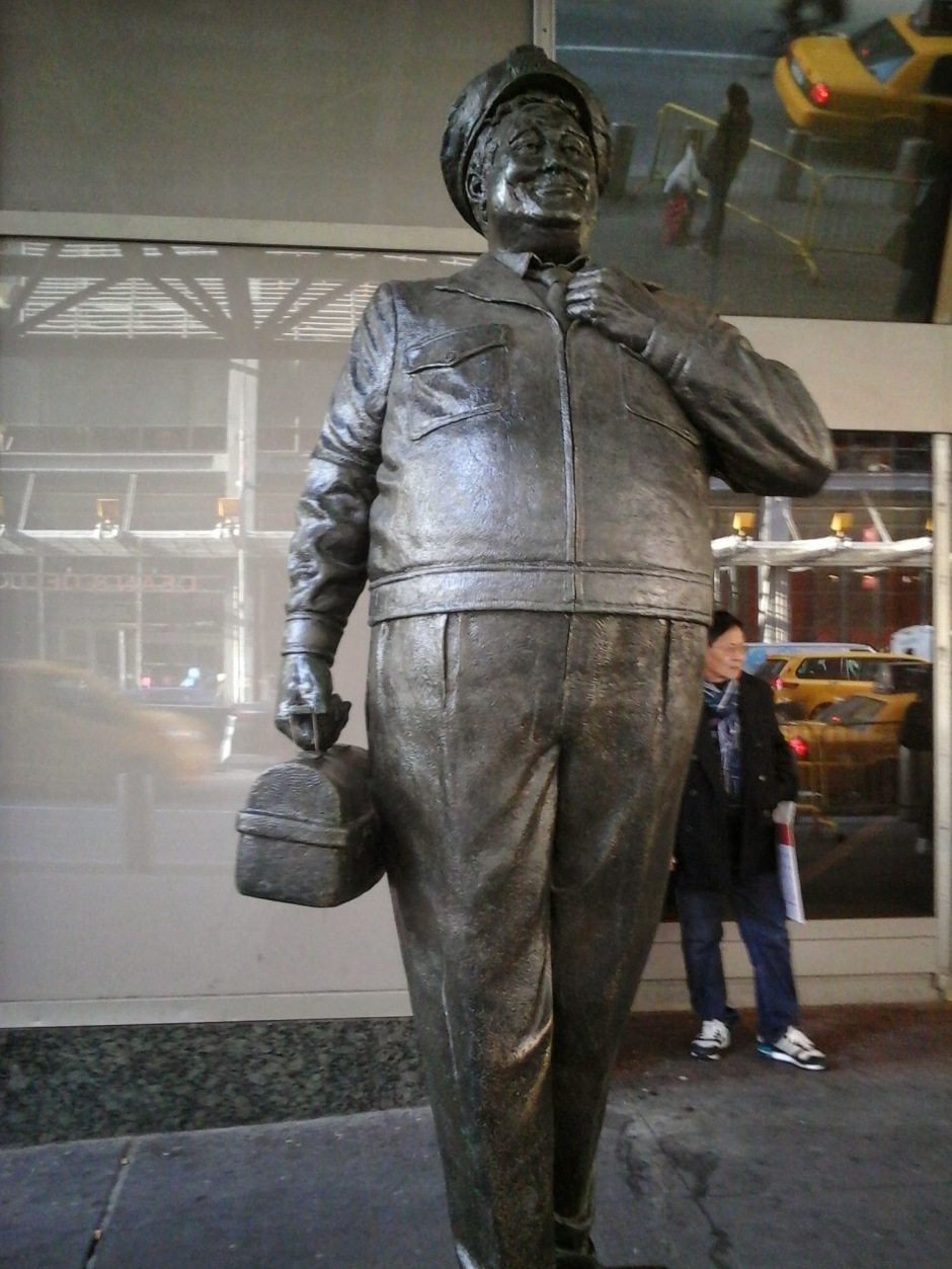 Ralph Kramden statue outside the Port Authority Bus Terminal, NYC