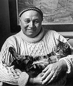 Romare Bearden with cat