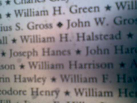 William H. Halstead name as inscribed on the Colored Soldiers Monument in Washington, DC