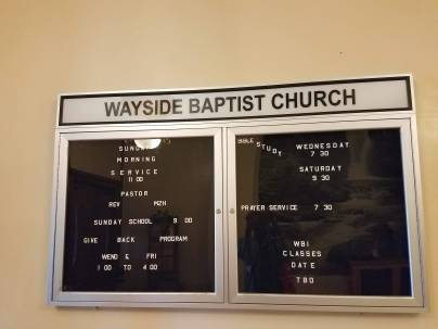 Wayside Baptist Church information board